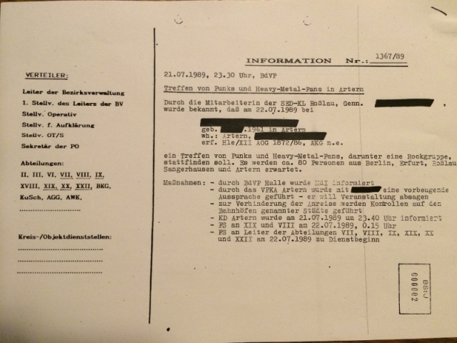 Vermerk Ueberwachung und Kontrolle durch MfS Heavy Metal DDR Wolf Zaddach