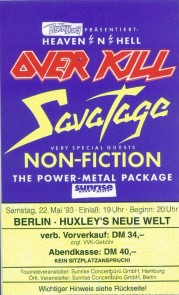 Over Kill Savatage Non-Fiction 1993