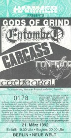 Gods of Grind Entombed Carcass Confessor Cathedral 1992