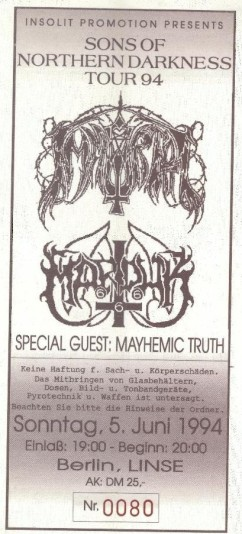 Sons of Northern Darkness Immortal Marduk Mayhemic Truth 1994